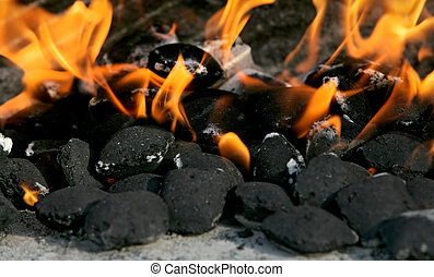 charcoal on fire - burning charcoal biscuits set on fire in...
