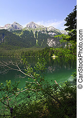 tovel lake, italian alps - nice view of tovel lake on...