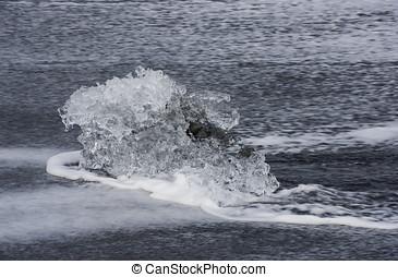pequeño, hielo, bloque, en, el, playa, Islandia