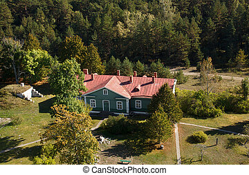 Birds view of a mansion - A birds eye view of a mansion near...