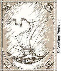 Sail Ship Engraving Illustration - Vintage sailboat border...