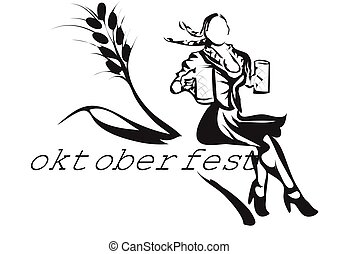 Oktoberfest. abstract silhouette of wooman with beer -...
