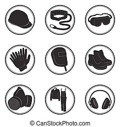 Personal protective equipment icons - Set of icons personal...