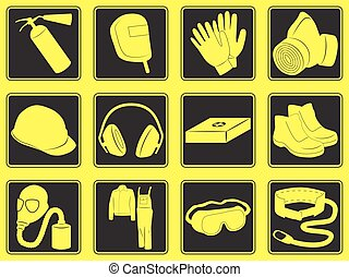 Personal safety equipment icons Vector illustration