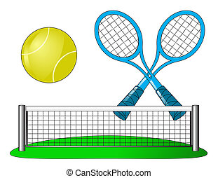 Vector tennis attributes on white