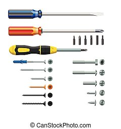 Set of three different screwdrivers, bits and screws, isolated on white background, realistic, vector illustration