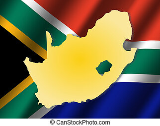 South Africa map on flag