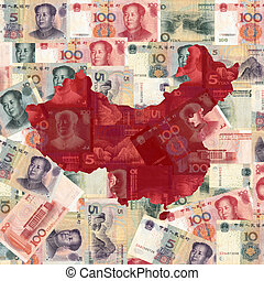 China map with yuan - Map of China with Chinese Yuan...