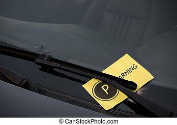 Parking Ticket on Windshield - Parking ticket on the...