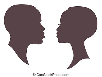 African woman and man face silhouette. Young attractive...