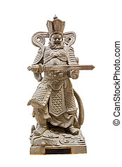 Chinese god with sword isolated on white background