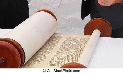 Torah displayed here a synagogue - The hebrew Torah,...