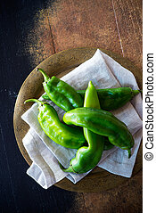New Mexico green chile, hatch chile on vintage metal plate....