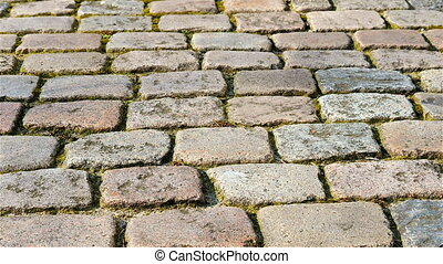 Pan of cobbled stones - Pan of street with cobbled stobes