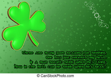 Saint Patricks Day Card with green clover leaf and Irish...