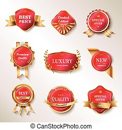 Exquisite labels set, red labels with golden frame