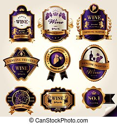 Luxury wine labels set, purple and golden elements