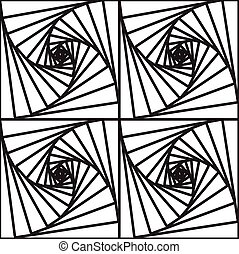 Square vortex - Black and white geometric abstract seamless...