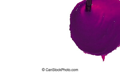 flow of purple fluid fills screen in slow motion. Colored...