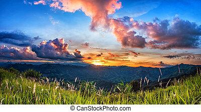 Sunset over mountain.