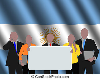 Argentinian business team with rippled flag illustration