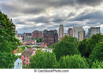 Downtown Providence, Rhode Island - Aerial view of downtown...