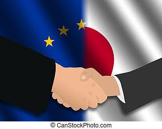 EU Japanese meeting - Handshake over EU and Japanese flags...