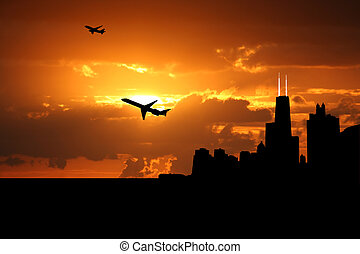 plane departing Chicago at sunset illustration