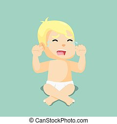 baby boy crying illustration design