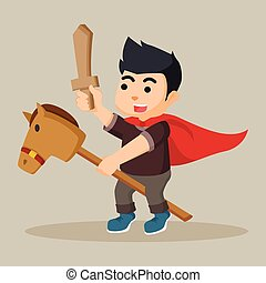 boy riding stick horse and holding wood sword