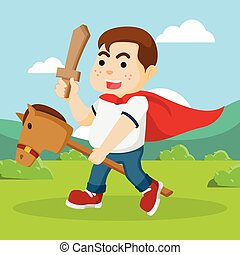 fat boy riding stick horse and holding wood sword
