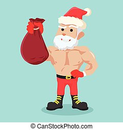 strong santa clause holding bag colorful