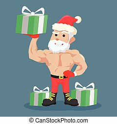 strong santa clause holding gift colorful