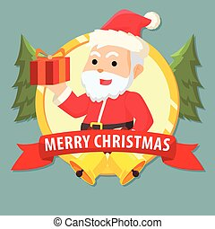 santa clause with gift in emblem colorful
