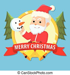 santa clause with snow manin emblem colorful