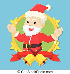 santa clause in circle logo colorful