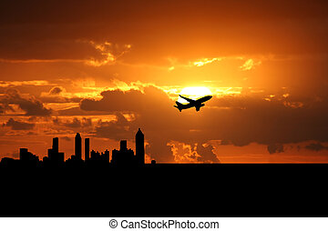 plane departing Atlanta at sunset illustration
