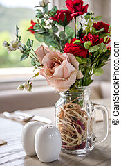 Table Setting with Rose in Cafe