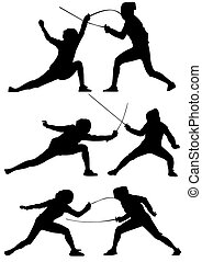 Fencing silhouettes