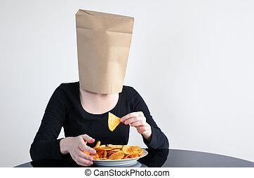 anónimo, mujer, ciegamente, Come, malsano, alimento