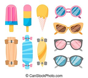 Summer collection of objects Vector illustration of icons