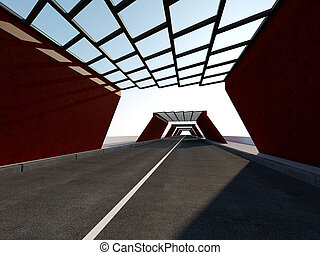 Traffic Tunnel 3D rendering - Abstract illuminated empty...