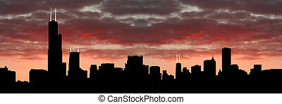 Chicago skyline at sunset - Chicago Skyline at sunset with...