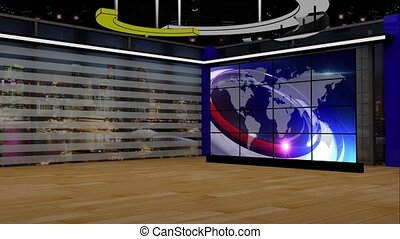 News TV Studio Set 199- Virtual Green Screen