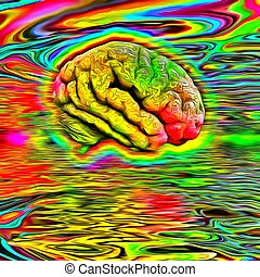 Psychedelic brain - Human's brain in acid colors