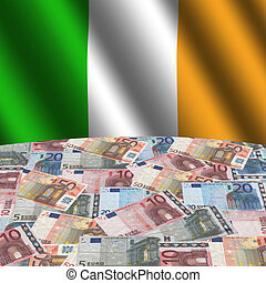 rippled Irish flag with euros globe illustration