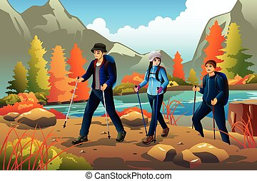 Young people going hiking outdoors