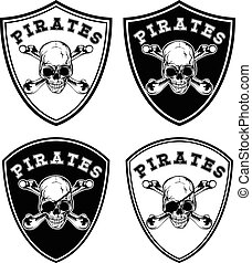 pirate chevron set - Vector illustration chevron set Skull...