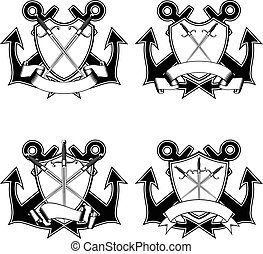 anchors and crossed daggers - Vector illustration two...