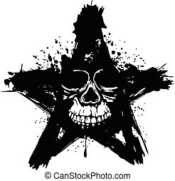 skull in star - Vector illustration grunge skull in star for...